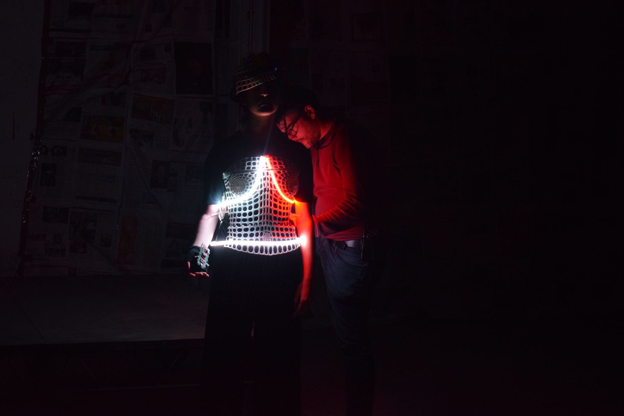 Experts in robotics and Epica team developed a wearable that was able to change colour depending on the audience interaction.